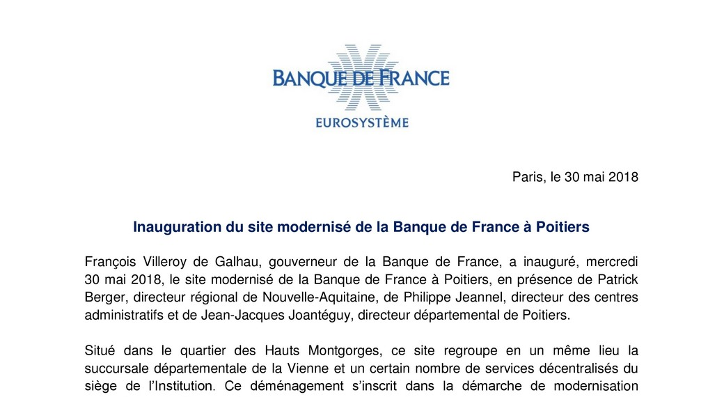 inauguration Banque de France Poitiers