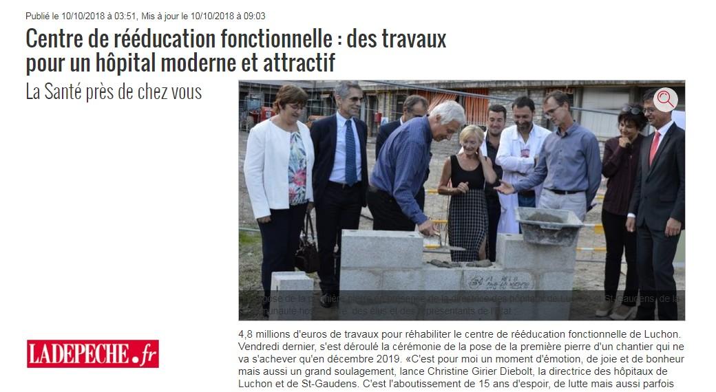 CRF Hôpitaux Luchons Article La Dépêche Octobre 2018