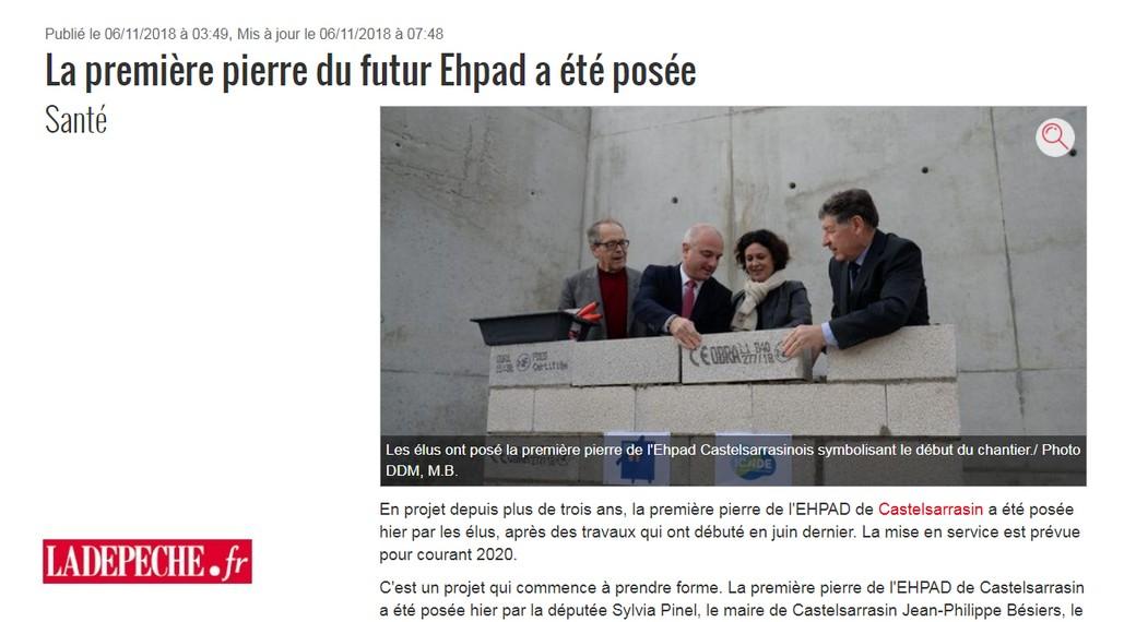 EHPAD Castelsarrasin Article La Dépêche Novembre 2018
